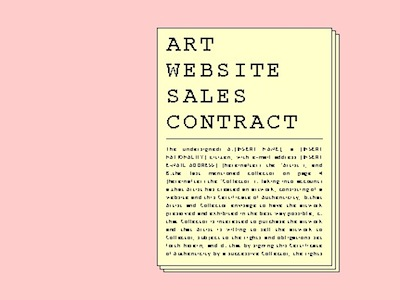 Rafael Rozendaal - Art Website Sales Contract